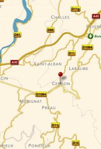 Grotte du Cerdon karta nära